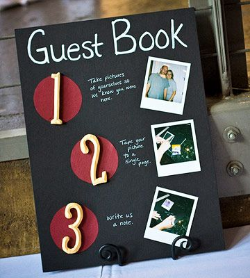 Non-Traditional Guest Book A one-of-a-kind guest book was created out of a photo album with black pages. Guests followed the instruction board, taking photos of themselves and writing notes to the bride and groom with silver pens. John and Jana loved that everyone participated throughout the reception, writing humorous, sentimental, and heartfelt notes.