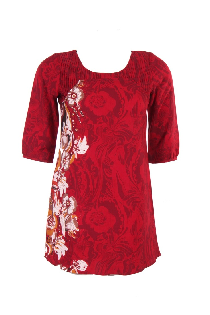 Red Floral Printed Kurti In Poly Crepe; Round Neck With Pleating On The Yoke; Quarter Sleeve; Sequin Embellished; 32 Inches In Length #Wishful #Clothing #Fashion #Style #Kurti #Wear #Colors #Apparel #Semiformal #Print #Casuals #W for #Woman