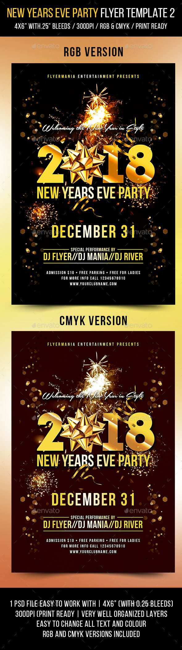 #New Years Eve #Party #Flyer Template 2 - Events #Flyers