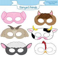 Barnyard Animals Printable Masks, printable party masks, farm animal mask, farm animals costume