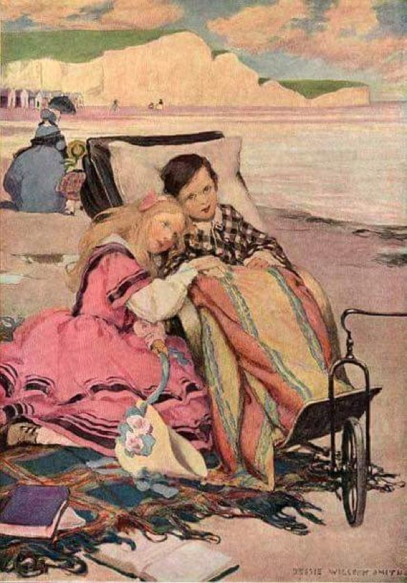 Paul Dombey and Florence on the Beach at Brighton. Jessie Wilcox Smith