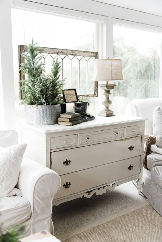 a new old dresser in the sunroom - Cottage Decorating