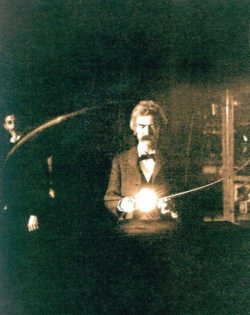 Mark Twain in Nikola Tesla's Laboratory at 35 South Fifth Avenue, 1895