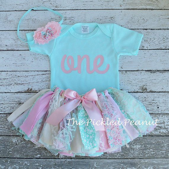 Pink and Mint Birthday Outfit Birthday Tutu by ThePickledPeanut                                                                                                                                                                                 More
