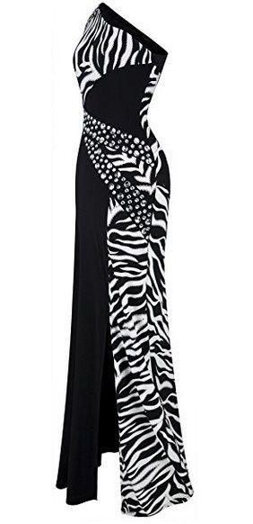 Angel-fashions Women's One Shoulder Zebra Gemstones Splicing Evening Dress ($49.99)