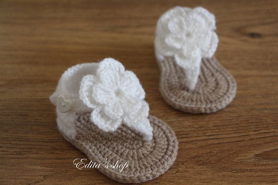 Crochet baby sandals, baby gladiator sandals, baby booties, baby shoes, White and tan, READY TO SHIP, size 3-6 months on Etsy, $12.20