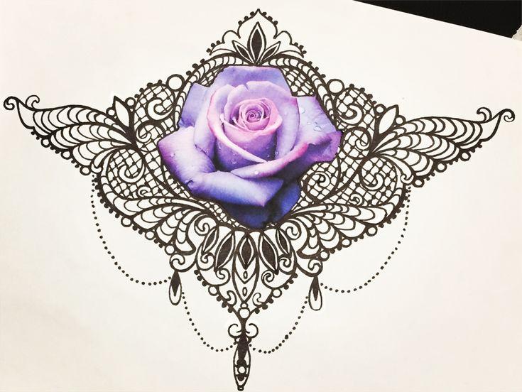 Underboobs ornemental bijoux dentelles réaliste rose couleur perle collier tattoo