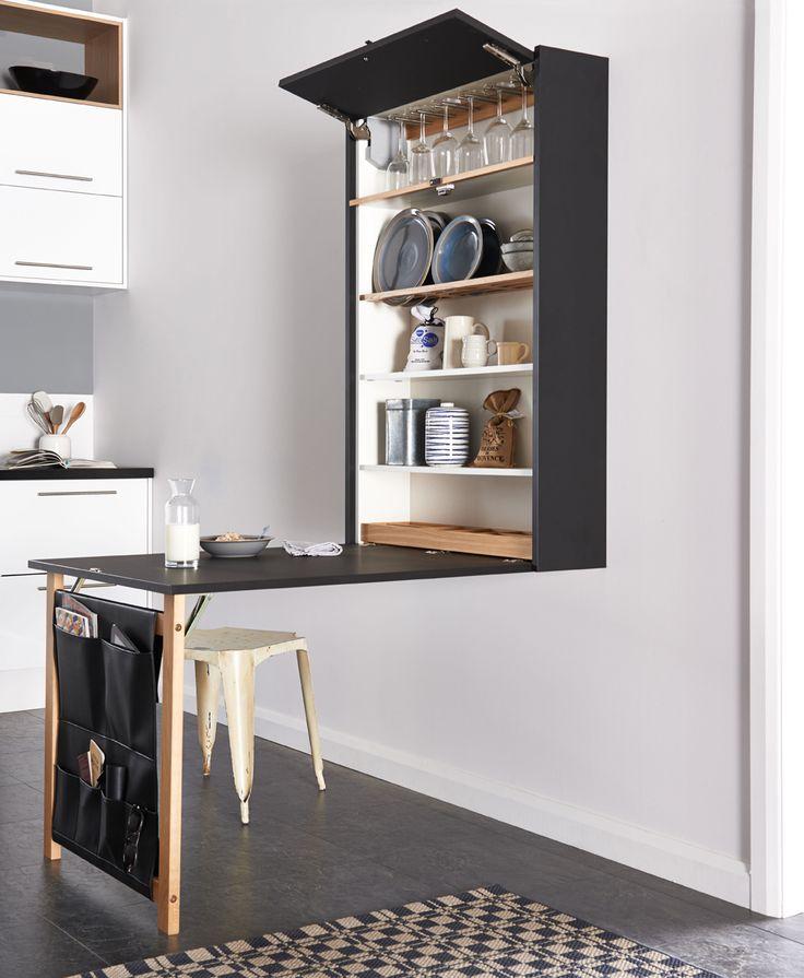 Klaffi-kaappi kätkee sisuksiinsa paljon säilytystilaa ja lasketaan tarvittaessa ruokapöydäksi ja työtasoksi. | Petra-keittiöt | #size0kitchen