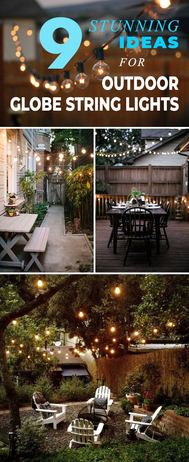 9 Stunning Ideas for Outdoor Globe String Lights! • Click thru to see how to add some ambience to your backyard with these wonderful globe string light ideas and projects! #outdoorglobestringlights #globestringlights #stringlights #globelights #outdoorlighting #patiolights #outdoorlights #outdoorambience