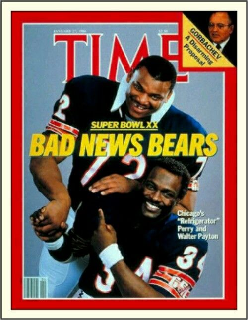 William Perry & Walter Payton: Chicago Bears; Time Magazine (01/27/1986)