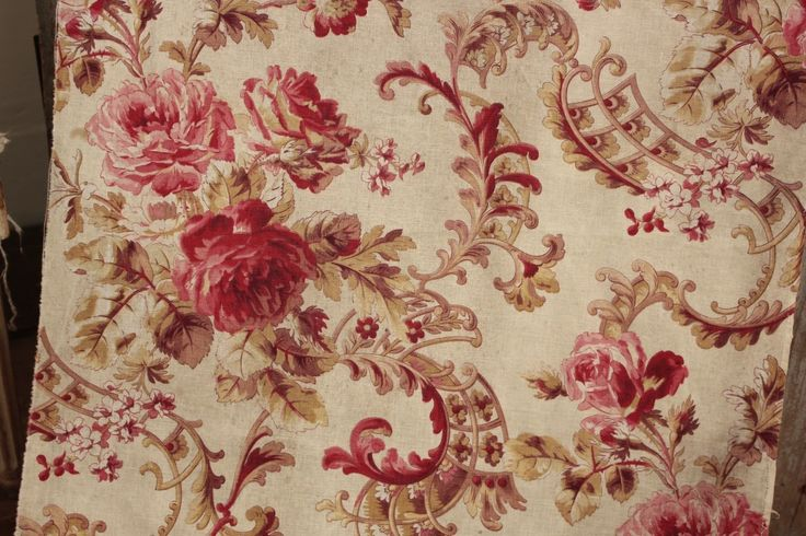 Antique French Rococo scroll floral fabric