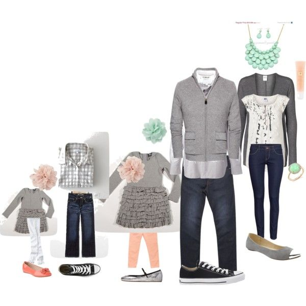 Spring Family Picture, picture outfit ideas.  mint, peach, grey....not as much grey