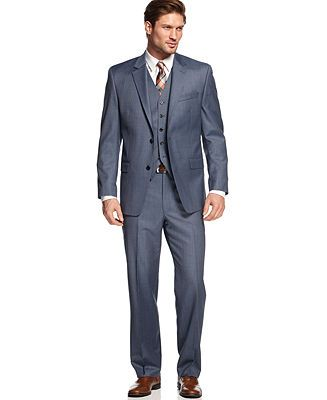 Possible wedding suit for groom  Shaquille O'Neal Blue Sharkskin Suit Separate Big and Tall - Suits  Suit Separates - Men - Macy's