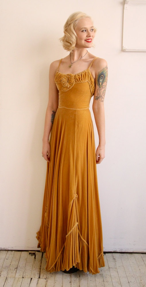 1930s Dress // vintage 30s gown // 1930s silk by dethrosevintage, $595.00
