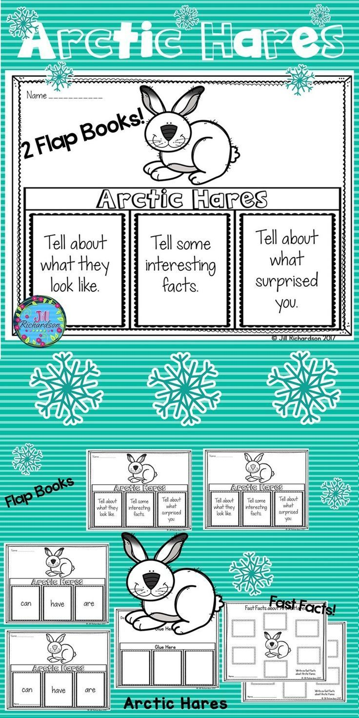Your students will love researching Arctic Hares! This product includes three ways for your children to share what they have learned about Arctic Hares in writing. Take a look at the preview! 2 Flap books (color and black and white) Arctic Hares: can, have are Arctic Hares: Tell about what they look like, Tell some interesting facts, Tell about what surprised you. Arctic Hares Fast Facts (color and black and white)