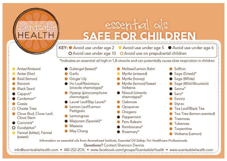 Safe Essential Oils for Kids - Not all oils are good for your kids.  Here is a list of when you can start using them with each age group.