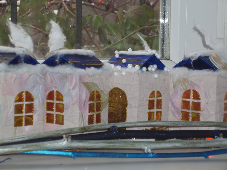 Fairy houses, made from package of yogurt.Also was used patterns, cotton, glitters, acrylic paints.
