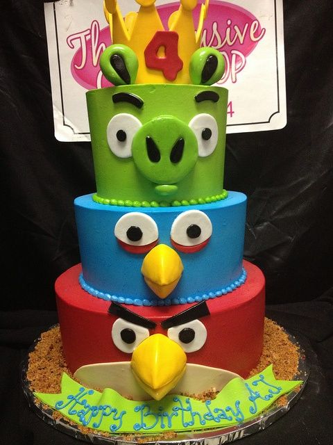 Angry birds cake of course I could do this for the next kiddy birthday cake! Look how easy it is!.