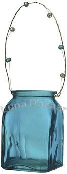Turquoise Blue Hanging Candle Holder and Vase (square design)