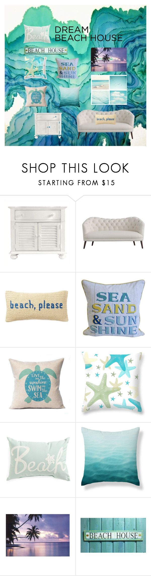 """""""Dream beach house 🌊"""" by amazingness1111 ❤ liked on Polyvore featuring interior, interiors, interior design, home, home decor, interior decorating, Stanley Furniture, Nordstrom Rack and WALL"""