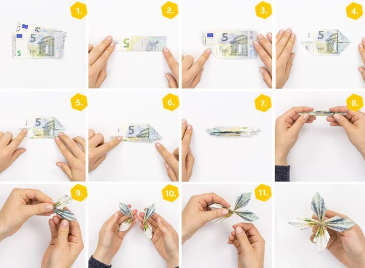 Banknoten falten »10 Anweisungen für Geldgeschenke   – Geburtstag