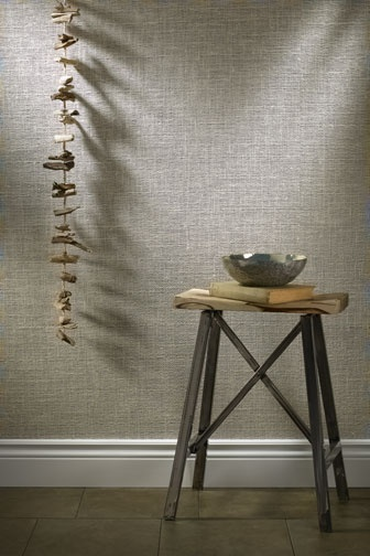 Phillip Jeffries - Chain Mail - Textured jute is woven atop metallic or matte grounds to create a knitted effect, just like its finely meshed armor namesake.  phillipjeffries.com.