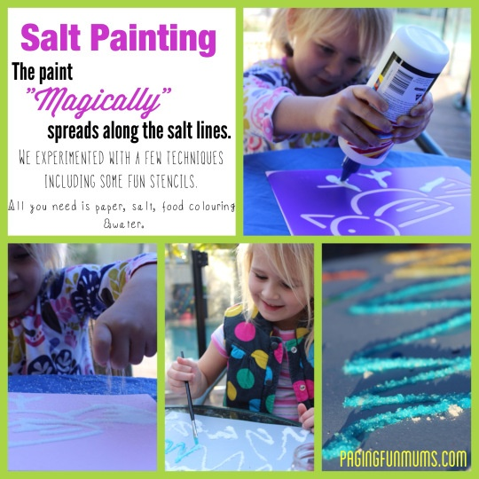 Salt Painting with stencils! This would make a great Kids Birthday Craft activity or for playgroups.