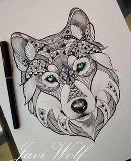 Les 18 meilleures images du tableau tatouage loup minimaliste sur pinterest - Tatouage loup mandala ...