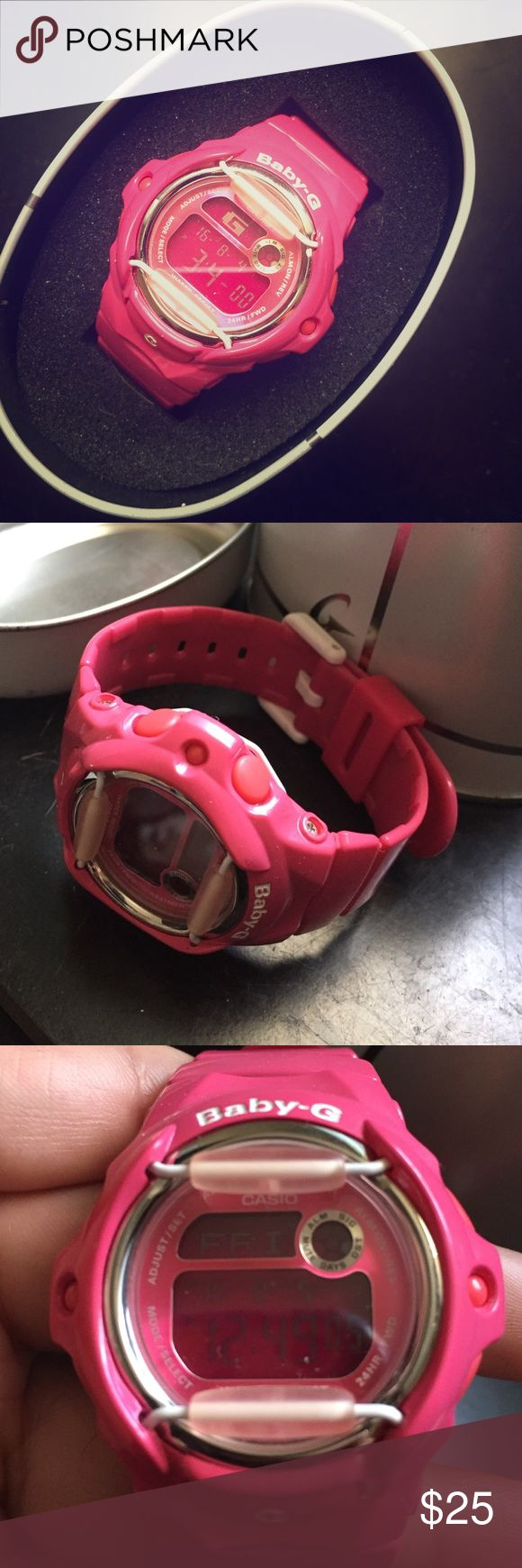 Bright Pink Athletic Watch Pink watch great for working out/outdoor activities. Never worn, still in box. Casio Accessories Watches