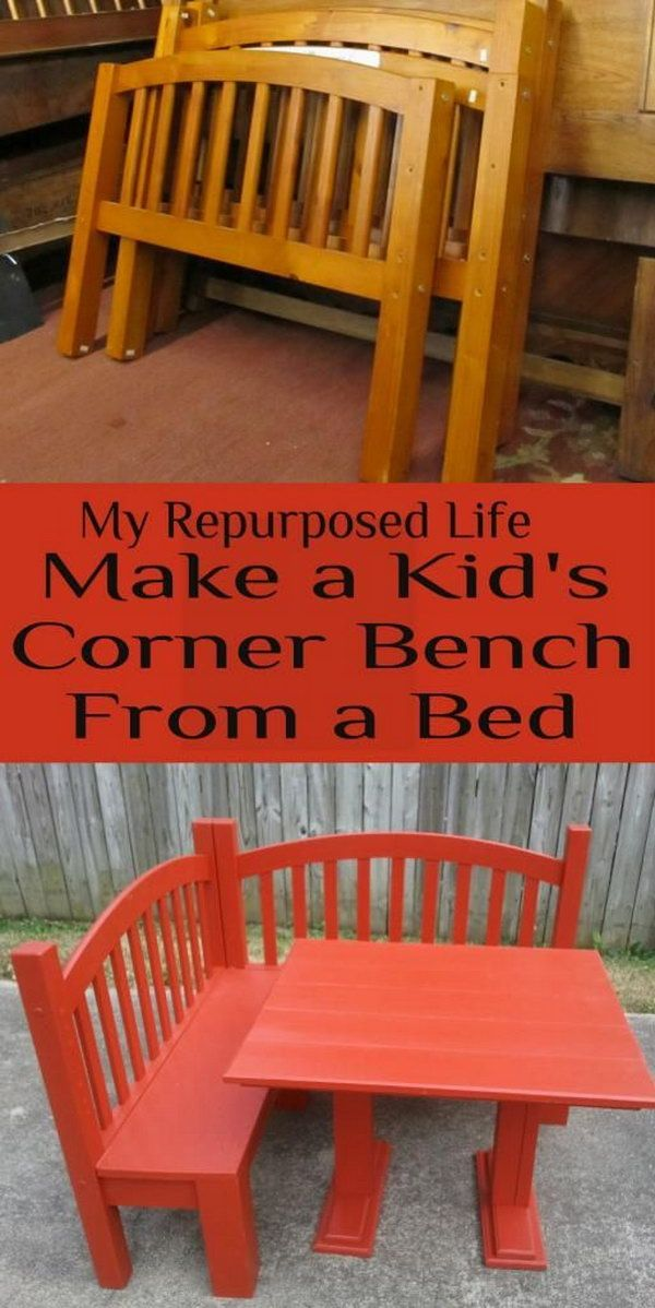 Make a Kid's Corner Bench and Play Table from an Old Bed . great craft table for the littles