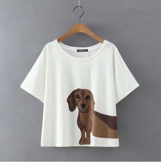 Aggiungere Rosa Aggiungi Taglia XS Donne Dormono Top Estate Allentata Top T shirt Bassotto Stampa Manica Corta Plus Size Cotone Dog Stampa T6651