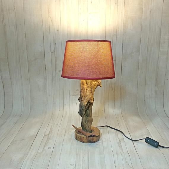 Large Driftwood table lamp made this