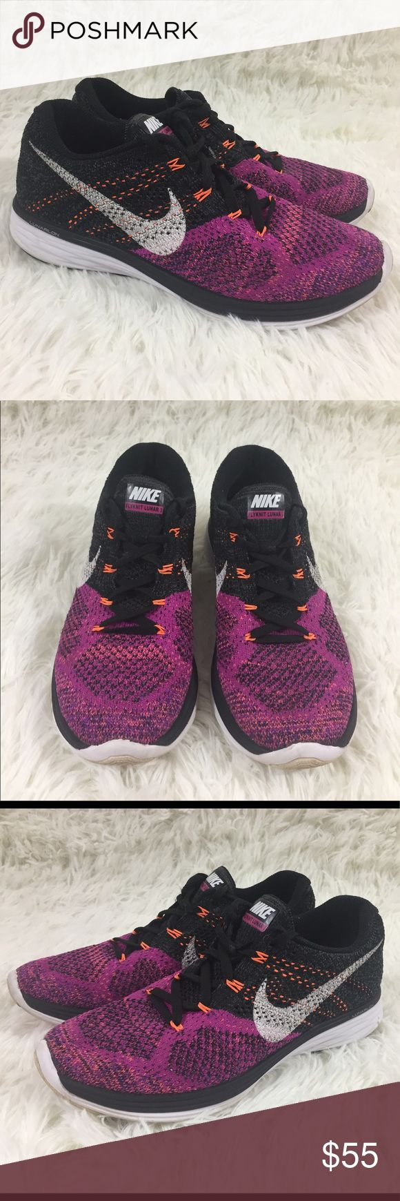 Nike Flyknit Lunar 3 athletic shoes size 7.5 Super cute pre-owned Nike Flyknit Lunar 3 pink orange and black running athletic shoes size 7.5. The outside of the shoes look great, the soles show wear so please see pic of soles. Please ask all questions before purchasing. Nike Shoes Athletic Shoes