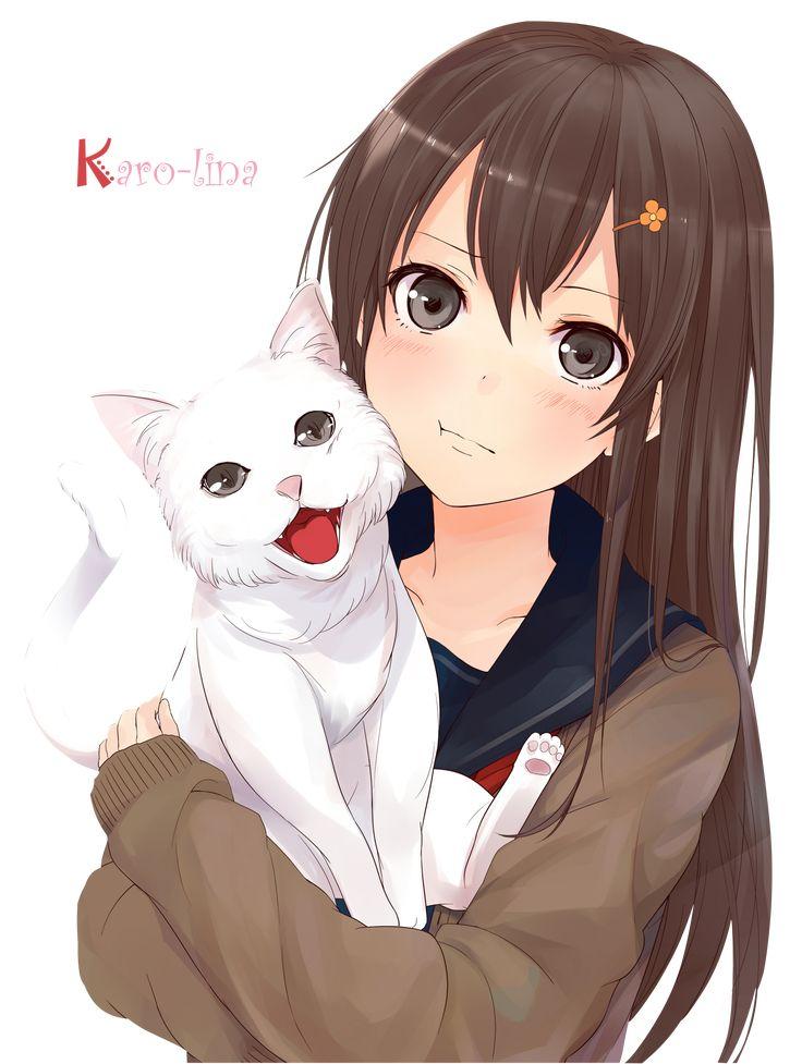 Render filles femmes renders kazabana fille brune avec - Fille manga chat ...