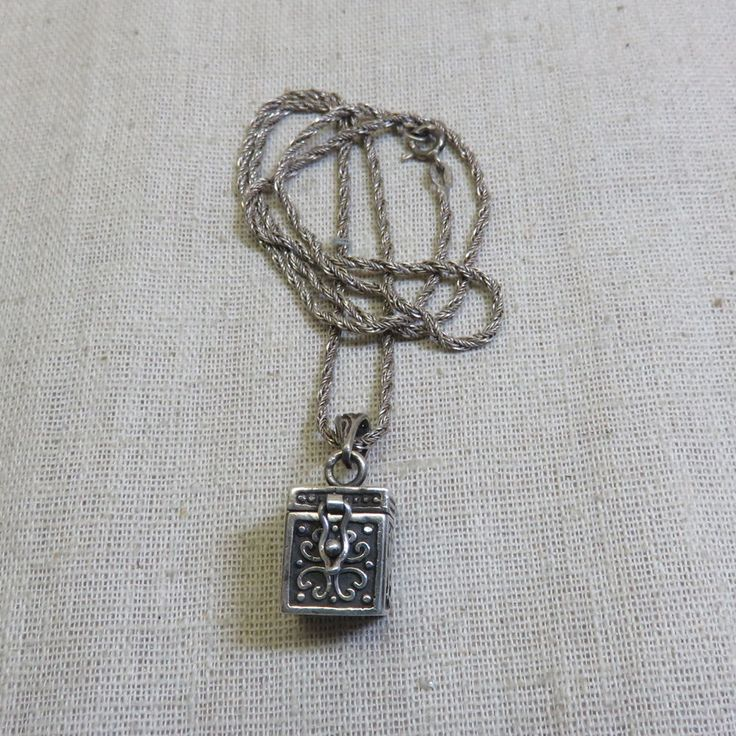 Mint Vintage Sterling Prayer Box Necklace, 20 Inch Sterling Braided Chain