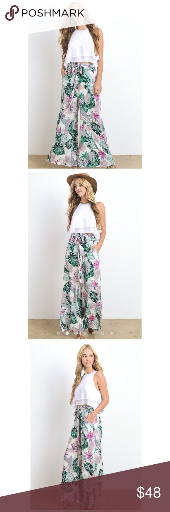 NEW LISTING  🏝The Tropical Farrah Pant Wide Leg High Waist w/ Belt Tie Pockets Color: White Body, Green & Pink Material: 100% rayon Machine Wash Cold   **The Farrah Top is also avaliable; please see seperate listing 🌵Price Firm Owl About Happy Pants