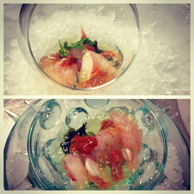 Crudo di pesce in acqua di pomodori