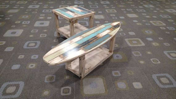 Faux Pallet Wood Rustic Weathered Surfboard Coffee by MarkerSix #surfboardcoffeetable #palletwood #surfboardfurniture