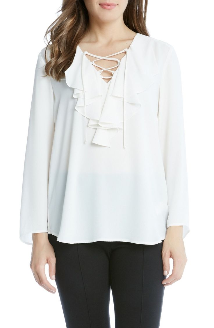 Karen Kane Lace-Up Ruffle Top available at #Nordstrom