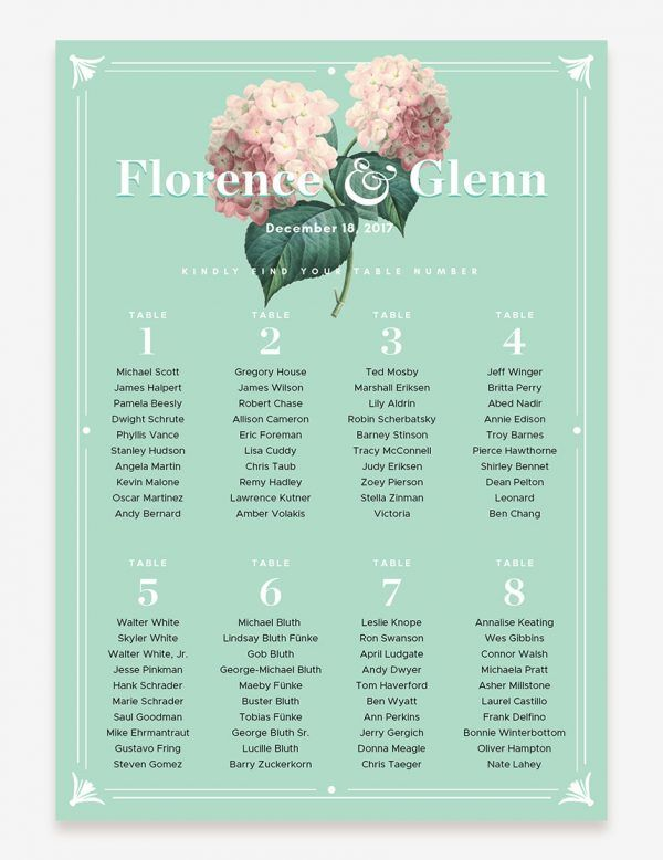 Printable vintage botanical wedding seating chart. Shop this easy printable design only at www.inatondesign.com