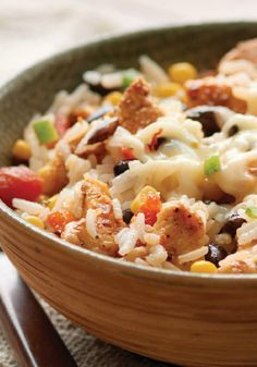 Santa Fe Chicken and Rice – Spice up your weeknight dinner routine with this delicious dish—complete with heat from mild salsa and jalapeño Monterey Jack cheese.