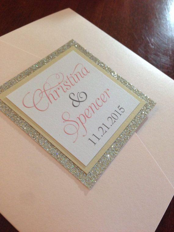 Glitter Wedding Invitation / pocketfold by PolkaDotInvites on Etsy