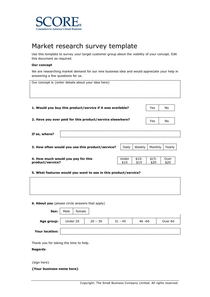 research questionnaire templates format market research survey template