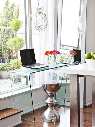 glass desk. silver stool.: Offices Desks, Apartment Design, Acrylic Desk, Office Desk Chair, Lucite Desk