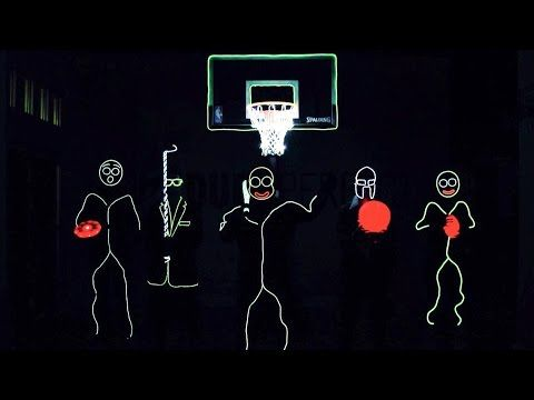 The Members of Dude Perfect Wear Glow-in-the-Dark Stick Figure Costumes While Performing Amazing Sports Trick Shots