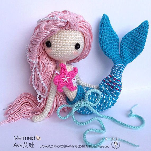 Crochet Doll Pattern - Mermaid-Ava艾娃. (A crochet doll with 2 look, mermaid or little girl)