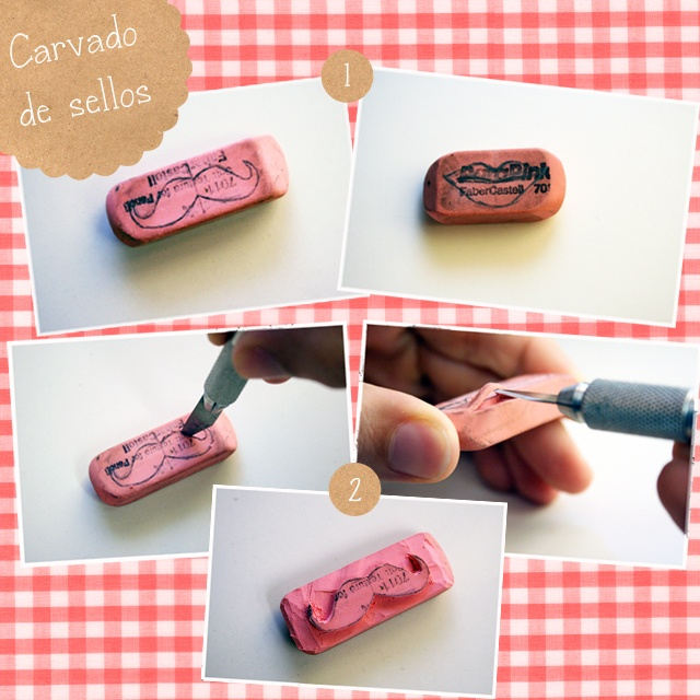 turn your eraser into a pretty stamp
