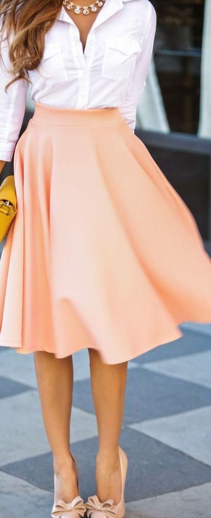 WATCHOUT This combination will look extremely good on people with white or black skintone. Peach colour is hard to carry for yellow skintone!!!//Peach skirt. Button down tucked into circle skirt. Love it all especially the length of the skirt.