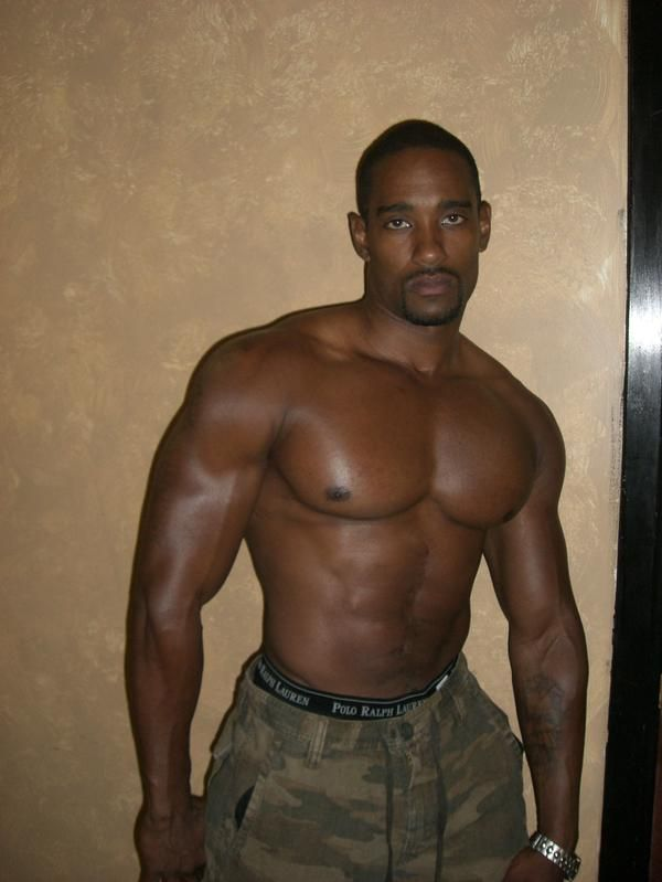 Right Black muscle men in uniforms