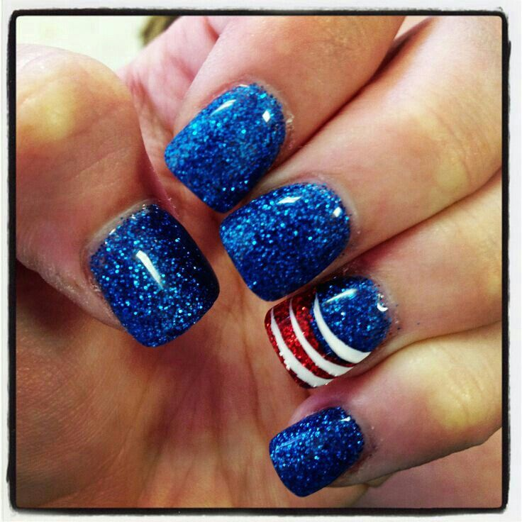4th of july fireworks nail